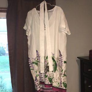 Elena Miro 100% Ramie(fabric) white with floral